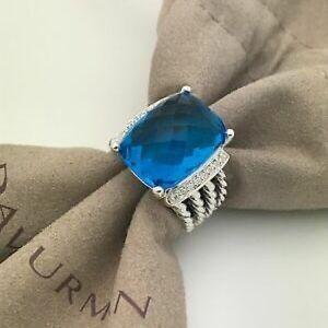 David Yurman Blue Topaz 16x12mm Wheaton Ring